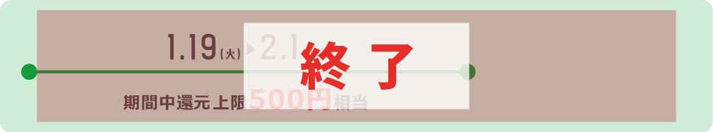 1.19(火)▶︎2.1(月)期間中上限500円相当