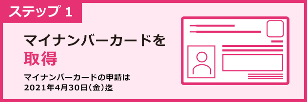 ステップ1 マイナンバーカードを取得 マイナンバーカード申込は4月末まで